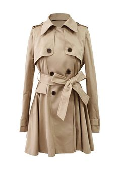 Flared Double-Breasted Trench Coat - With Shoulder Button Tabs