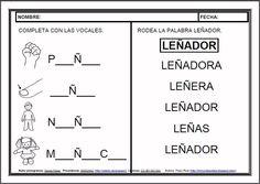 MATERIALES - Fichas de lectoescritura - Ñ.    Fichas para el aprendizaje de la lectoescritura en letra mayúscula.    http://arasaac.org/materiales.php?id_material=983