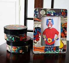 Easy DIY: A Mod Podge comic book frame for your kid's favorite Super Hero-- Dad! Perfect Father's Day Gift!