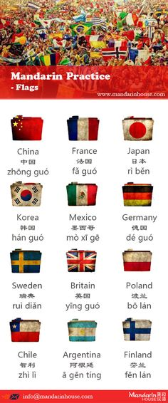 Flags in Chinese.For more info please contact: bodi.li@mandarinhouse.cn The best Mandarin School in China.
