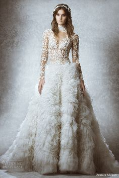zuhair murad bridal fall 2015 wedding dress turtle neck long sleeves leaf floral embroidery illusion sheath gown with ball gown overskirt style melissa