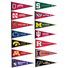 Big Ten Pennant Set includes all Big Ten Conference team pennants and measure inches. All 14 Big 10 Conference teams are included and the Big Ten Pennant Set is officially licensed by the NCAA and selected schools. Conference Usa, Football Conference, Big Ten Football, College Football, Sacramento, Mountain West Conference, Utah, College Pennants, American Athletic Conference