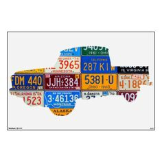 Truck License Plate Art Boys Room Road Trip Decal Wall Sticker by Design Turnpike.