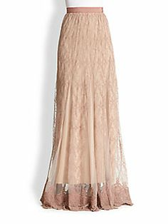 Alice + Olivia - Louie Emboidered Lace Maxi Skirt