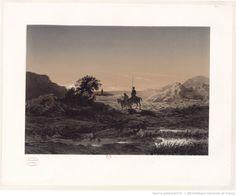 [Illustration pour Don Quijote de la Mancha. Don Quichotte et Sancho à cheval lanuit] : [estampe] / [Célestin Nanteuil] | Gallica