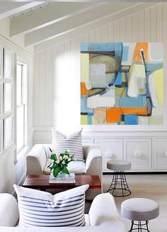 Bold colorful large Abstract art oil painting by Danielle Nelisse completes interior design accessories | abstract art for living room | acquire this oil painting on gallery wrapped canvas at www.daniellenelisse.com | free shipping + 7 day return policy | standard interior designer discount