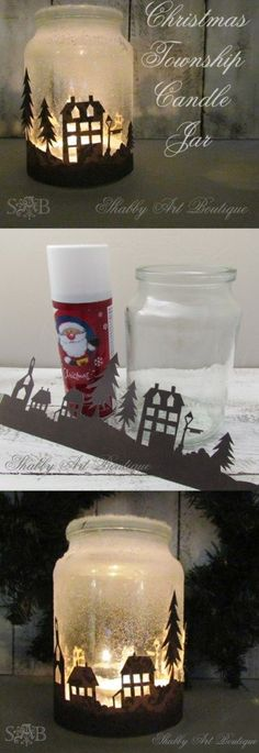 Quick and easy Christmas township candle jar project by Shabby Art Boutique.