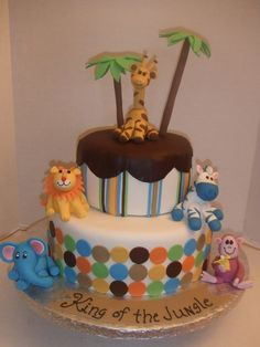 This is a jungle theme baby shower. The top tier...