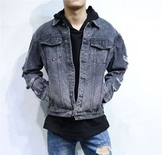 Men's Blue Grey Distressed Denim Bomber Jacket Male Japanese Style Men Ripped Jean Hip Hop Jackets and Coats