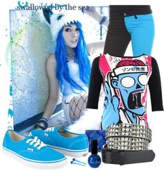 """blue emo outfits 