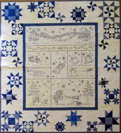 Bildresultat för walking in a winter wonderland quilt Two Color Quilts, Blue Quilts, Quilting Projects, Quilting Designs, Snowflake Quilt, Snowflakes, Loom Crochet, Snowman Quilt, Machine Quilting