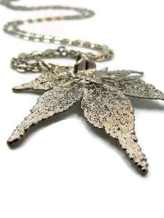 Leaf Necklace Long Silver Necklace by TheJewelryByAndrea on Etsy, $49.00