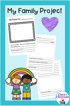 'My Family' project is a 4 page booklet which would be perfect for exploring family diversity, values, traditions and structures in the classroom. The resource includes a project booklet, two drawing templates and two graphic organisers which could be used to facilitate conversations about similarities and differences between families and what makes them special. The project is left open so your students can each choose what to share about their family. An engaging and fun project for all. Multicultural Classroom, Classroom Resources, Teacher Resources, Primary School Teacher, School Classroom, Social Studies Resources, Human Resources, Graphic Organisers, Inclusion Classroom