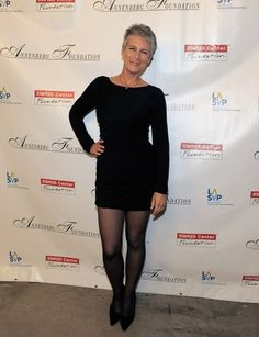 Jamie Lee Curtis...I love that in a time when women are so afraid to age and injecting themselves with everything except windex...Jamie is like I have grey hair, a few wrinkles and I can still rock a mini skirt!!!!! Beauty is not being afraid to mature.