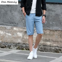 Shorts Men 2017 Summer Fashion Mens Shorts Casual Cotton Slim Bermuda Masculina Beach Shorts Joggers Trousers Knee Length Shorts