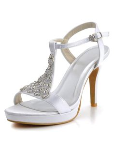 Elegantpark EP2054 Women's Open Toe T Strap High Heel Platform Satin Bridal Wedding Shoes -- Continue to the product at the image link.