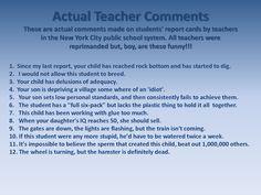 Actual Teacher Comments