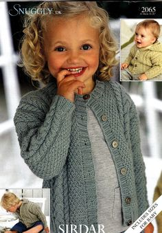 2065 Sirdar Knitting Pattern Baby Child Cable Cardigans DK birth to 5 years Sirdar Knitting Patterns, Beginner Knitting Patterns, Baby Cardigan Knitting Pattern, Knitting For Kids, Crochet Patterns, Baby Sweaters, Baby Patterns, Crochet Baby, 5 Years
