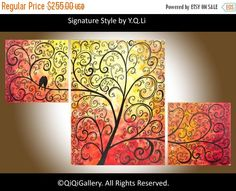 "Acrylic Painting Red yellow Triptych Painting love birds in tree branchs ""Autumn Romance"" by qiqigallery"