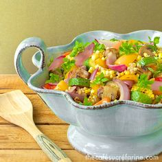 Grill-Roasted Summer Veggie & Farro Salad w/ Garlicky Lemon Vinaigrette | thecafesucrefarine.com