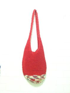 Beach Bag in Red  Crochet Beach Bag  Sturdy by AnniewayCrochet, $30.00