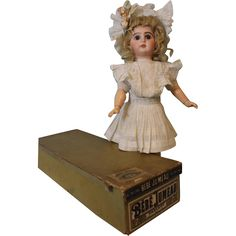 Antique 17 inch Tete Bebe Jumeau French Bisque Doll in ORIGINAL BOX & from turnofthecenturyantiques on Ruby Lane