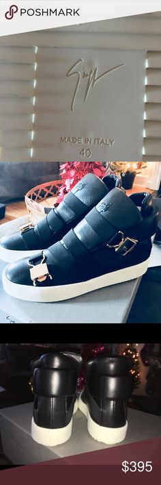 NIB Giuseppe Zanotti Sean Sneaker 7.5 40.5 Shoe I am selling a 100% Authentic pair of Giuseppe Zanotti Sean sneakers in Italian size 40,5 US Men's 7.5 and US Women's 9.5. They are made with a soft black leather, oversized tongue, and gold clasps that have Giuseppe Zanotti embossed in them. These have never been worn and comes with the shoe bags, original box, gz tissue paper, and cleaning cloth. I will ship these inside a box. Please ask questions! These fit me and I usually wear a women's 9…