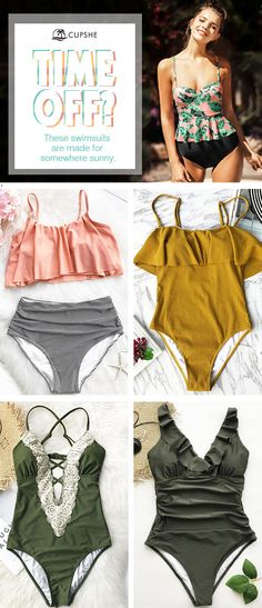 It's always sunny somewhere! ❀ Take swimwear with sweet ruffles, falbala and retro silhouettes and spice up your summer time. Be ready for your on-the-go destination with our fabulous selection of swimsuits! Free shipping! Can't miss~