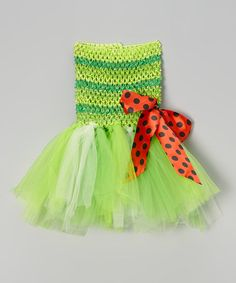 This Dark Green & Lime Green Crocheted Tutu Dress - Infant by Ballerina Girl is perfect! #zulilyfinds