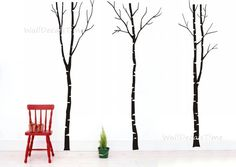 Vinyl Birch Tree Wall Decals Removable Vinyl by WallDecalsTime, $79.00