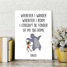 Disney Quotes Jungle Book Print Baloo and Mowgli by DigitalSpot
