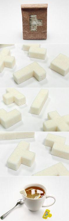 Des briques de sucre inspirées des formes du mythique jeu vidéo TETRIS, par le designer et graphiste russe Danil Zdorov