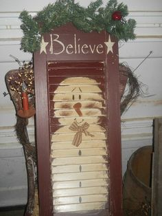 We can paint on the shutters! Primitive Antique Christmas Snowman Shutter Christmas Is Coming Antique Christmas, Primitive Christmas, Country Christmas, Christmas Snowman, Winter Christmas, Christmas Holidays, Christmas Decorations, Christmas Ornaments, Snowman Crafts