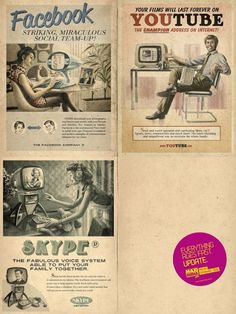 Fake vintage advertising: Facebook / Youtube / Skype