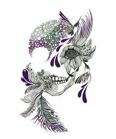 Very feminine skull. Include peacock feather, hummingbird, lady bug, etc