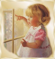 Little girl looking out the window. Click the graphic to see the effect.