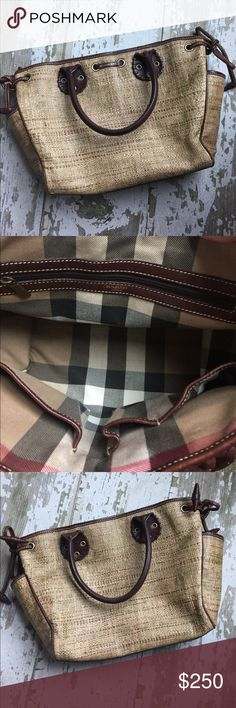 Burberry Straw with Leather Trim Tote Beautiful Authentic Burberry straw tote with leather trim in used condition. Purse height is 9, length 11, depth 5.  This woven straw tote with hints of gold, giving it a beautiful texture, has some wear that I've highlighted in the photos. Outside the raffia has a spot with some fraying that only noticeable up close and the entire has some wear and subtle stain. The bottom leather has a subtle mark as well. Purse is priced accordingly. Dust bag…