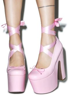 The Loser's Shopping Guide — Pastel Pink Lace Up Ballet Platforms