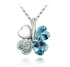 Austrian Crystal Clover Pendant Necklace