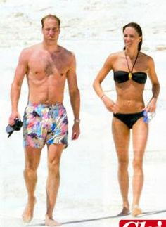 The honeymoon of Prince William and Kate Middleton in Italy, 2011. The Dukes of Cambridge, holding hands on the deserted beach at North Island, Seychelles, enjoying the relaxation after the wedding. Boxer for William, black bikini and perfect physique for Kate.