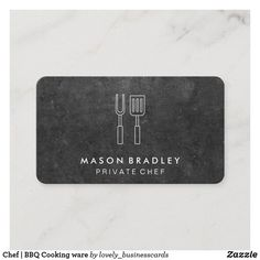 Chef | BBQ Cooking ware Business Card Company Business Cards, Professional Business Cards, Restaurant Owner, Private Chef, Cooking Ware, Grill Master, Executive Chef, Catering Services, Barbecue Grill