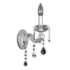 Giordano Chrome One-Light 3.5-Inch Wide Wall Bracket with Firenze Clear Crystal