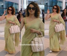 Kangana Ranaut was spotted at the airport in a pastel mint cotton saree. Dress Indian Style, Indian Dresses, Indian Outfits, Chanderi Silk Saree, Cotton Saree, Lehenga Choli Wedding, Silk Saree Blouse Designs, Sari Dress, Saree Trends