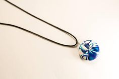 Blue and white round polymer clay pendant - beautiful one-of-a-kind, unique flower design with chain or cord necklace