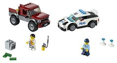 Features a police supercar, crook's pickup truck and an opening safe. Accessory elements include 2 police cones, flashlight, welding torch, crowbar and 3 banknotes. Includes 2 minifigures: a police officer and a crook. LEGO CITY Police Pursuit 60128  toys4mykids.com