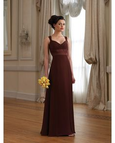 Long Brown Bridesmaid Dress