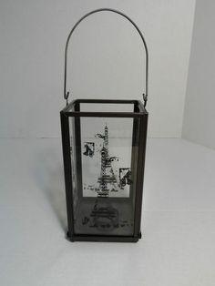 Lantern Candle Holder Metal glass panes Eiffeil Tower Paris/France Stencil Decor