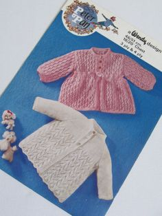 One vintage knitting pattern for a cardigan set for babies. Produced by Wendy pattern number P276. #knitting #babyknittingpatterns #vintageknitting