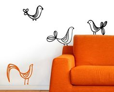 Bird Wire Cute Sticker Vinyl Wall Lettering by willowcreeksigns
