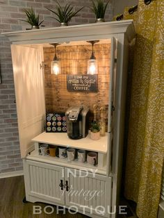 Custom armoire coffee bar coffee station beverage station – Home coffee stations Refurbished Furniture, Repurposed Furniture, Furniture Makeover, Painted Furniture, Armoire Makeover, Refurbished Cabinets, Distressed Furniture, Coffee Bar Home, Home Coffee Stations